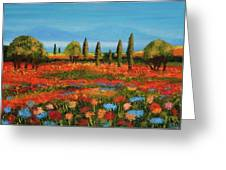 Red Field Greeting Card