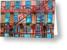 Red Fire Escape Greeting Card