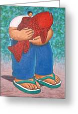 Red Fish And Blue Trousers. Greeting Card