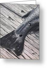 Red Fish Painted Black Greeting Card