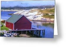 Red Fishing Shed On The Cove Greeting Card