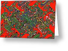 Red Five Wave Abstract Greeting Card