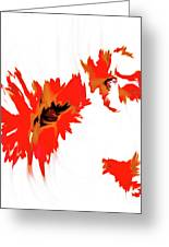Red Floating Florals Greeting Card