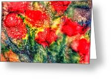 Red Floral Abstract Greeting Card