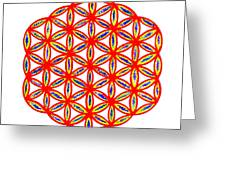 Red Flower Of Life Greeting Card