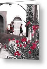 Red Flowers Black And White Greeting Card