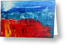 Red Flowers Blue Mountains - Abstract Landscape Greeting Card