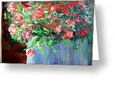 Red Flowers Blue Planter Greeting Card