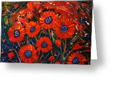 Red Flowers In The Night Greeting Card