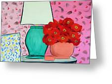 Red Flowers Pink Room Greeting Card