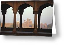 Red Fort From The Jama Masjid Greeting Card