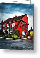Red Frame House In Lavenham, England. Greeting Card