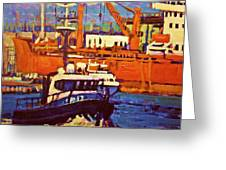 Red Freighter Greeting Card