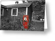 Red Gas Pump Greeting Card