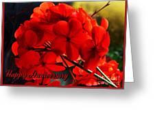 Red Geranium Anniversary Greeting Greeting Card