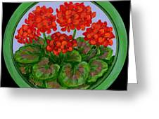 Red Geranium On Wood Greeting Card