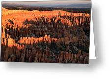 Red Glow Of The Sunrise In Bryce Canyon Greeting Card