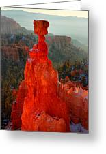 Red Glow Of The Sunrise On Thor's Hammer In Bryce Canyon Greeting Card