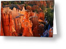 Red Glow On Thor's Hammer In Bryce Canyon Greeting Card