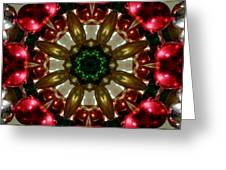 Red Gold Green Kaleidoscope 1 Greeting Card