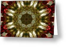 Red Gold Kaleidoscope 1 Greeting Card