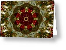 Red Gold Kaleidoscope 2 Greeting Card