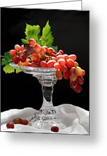 Red Grapes On Glass Dish Greeting Card