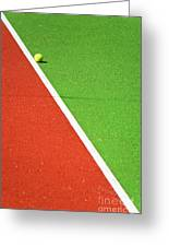 Red Green White Line And Tennis Ball Greeting Card