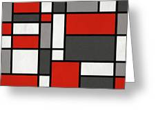 Red Grey Black Mondrian Inspired Greeting Card