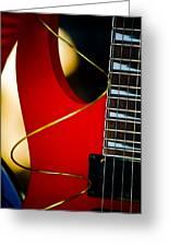 Red Guitar Greeting Card by Hakon Soreide