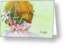 Red Hair And Apple Blossoms Greeting Card