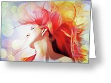 Red Hair With Bubbles Greeting Card