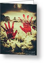 Red Handprints On Glass Of Windows Greeting Card