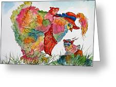 Red Hat Chick Cutie Greeting Card