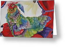 Red Hat Chick With Purse Greeting Card