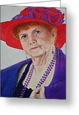 Red-hat Lady Greeting Card