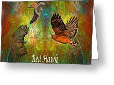 Red Hawk Moon Greeting Card