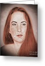 Red Headed Beauty Vdersion II Greeting Card