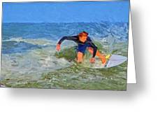 Red Headed Surfer Greeting Card