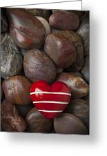 Red Heart Among Stones Greeting Card
