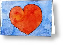 Red Heart On Blue Greeting Card