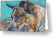 Red Heeler Australian Cattle Dog Greeting Card by Lee Ann Shepard