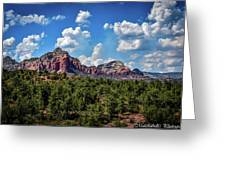 Red Hills And Green Tress Greeting Card