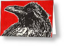 Red Hot Raven Greeting Card by Julia Forsyth