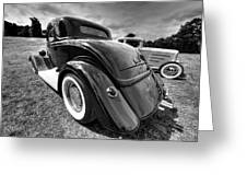 Red Hot Rod In Black And White Greeting Card