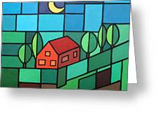 Red House Amidst The Greenery Greeting Card
