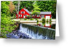 Red House By The Falls Greeting Card