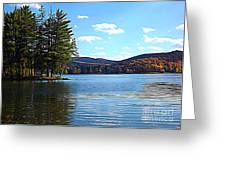 Red House Lake Allegany State Park In Autumn Expressionistic Effect Greeting Card