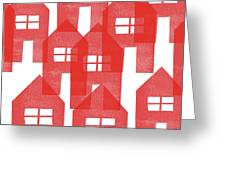 Red Houses- Art By Linda Woods Greeting Card