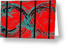 Red Infinity Modern Painting Abstract By Robert R Splashy Art Greeting Card